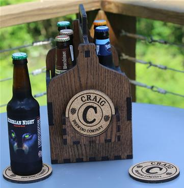 Personalized Beer Caddy with matching personalized brewing coasters.